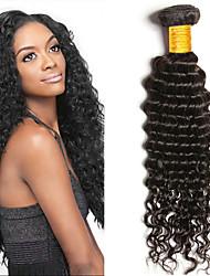 cheap -3 Bundles Deep Wave Human Hair Unprocessed Human Hair Wig Accessories Headpiece Natural Color Hair Weaves / Hair Bulk 8-28 inch Natural Color Human Hair Weaves Fashionable Design Smooth Cool Human
