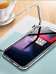 cheap -Case For OnePlus OnePlus 6 Transparent Full Body Cases Solid Colored Hard Tempered Glass / Metal