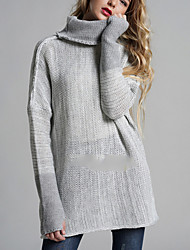 cheap -Women's Daily Basic Oversize Solid Colored Long Sleeve Regular Pullover Sweater Jumper Brown / Dark Gray / Light gray S / M / L
