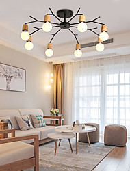 cheap -8-Light Simple wooden and iron pendant lamp in living room, study bedroom and living room