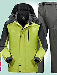 cheap -Men's Hiking Jacket with Pants Winter Outdoor Windproof Breathable Rain Waterproof Anatomic Design Winter Jacket Full Length Hidden Zipper Ski / Snowboard Climbing Camping / Hiking / Caving Army