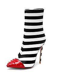 abordables -Femme Bottes Fashion Boots Talon Aiguille Bout pointu Rivet Matière synthétique Bottes Mi-mollet Britanique Automne hiver Noir / blanc / Mariage / Rayé
