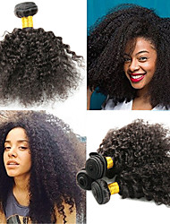 cheap -3 Bundles Indian Hair Afro Curly Kinky Curly Remy Human Hair Human Hair Extensions 8-26 inch Natural Human Hair Weaves Best Quality New Arrival Hot Sale Human Hair Extensions / 10A