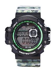 Недорогие -Муж. Спортивные часы электронные часы Цифровой силиконовый Черный 30 m Защита от влаги ЖК экран Фосфоресцирующий Цифровой Винтаж Мода - Синий Темно-синий Камуфляж Зеленый
