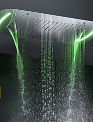 cheap -71X43 CM Bathroom Shower Head / Stainless Steel SUS 304 / Contemporary / Bubble Atomizing Waterfall Rain Four Functions / With Colorful LED Light Changed by Touch Panel