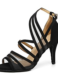 cheap -Women's Dance Shoes Patent Leather Latin Shoes Splicing Heel Flared Heel Black / Yellow / Red / Performance / Practice