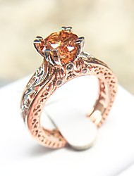 cheap -Statement Ring AAA Cubic Zirconia Cut Out Champagne Copper Platinum Plated Rose Gold Plated Totem Series Petal Cocktail Ring Ladies Unique Design Aristocrat Lolita 1pc 6 7 8 9 10 / Women's