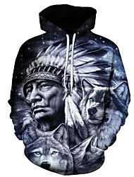 cheap -Men's Plus Size Long Sleeve Loose Hoodie - 3D Wolf, Print Hooded Gray XS / Fall / Winter