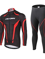 cheap -XINTOWN Men's Long Sleeve Cycling Jersey with Tights Black Bike Pants / Trousers Jersey Clothing Suit Thermal / Warm Windproof 3D Pad Reflective Strips Back Pocket Winter Sports Polyester Spandex