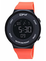 Недорогие -Муж. Спортивные часы электронные часы Цифровой силиконовый Черный / Оранжевый / Небесно-голубой 50 m Календарь Хронометр Фосфоресцирующий Цифровой Мода Цветной - Оранжевый Синий Светло-синий