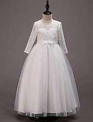 cheap -Princess Floor Length Wedding / Party / Pageant Flower Girl Dresses - Cotton / Lace / Tulle Half Sleeve Jewel Neck with Lace / Belt
