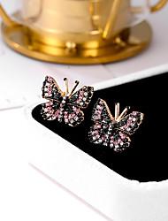 cheap -Women's Cubic Zirconia Stud Earrings Retro Butterfly Ladies Trendy Sweet Cute Rhinestone Earrings Jewelry Pink For Going out Birthday 1 Pair