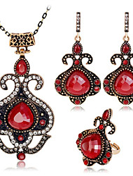 cheap -Women's Red Ruby Vintage Necklace Retro Ladies Vintage Bohemian African Earrings Jewelry Red / Blue For Party Daily 1 set