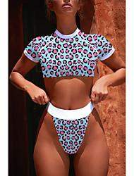 abordables -Femme Sportif Basique Epaules Dénudées Bleu Jaune Triangle Slip Brésilien Tankinis Maillots de Bain - Léopard Imprimé S M L Bleu / Super sexy