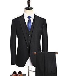 cheap -Tuxedos Standard Fit Notch Single Breasted One-button Polyester Solid Color / Checkered / Gingham