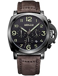 cheap -Men's Sport Watch Japanese Quartz Classic Water Resistant / Waterproof Genuine Leather Brown / Chocolate Analog - Digital - Brown Coffee / Calendar / date / day / Chronograph / Large Dial