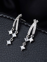 cheap -Women's Clear Cubic Zirconia Ear Piercing Drop Earrings Dangle Earrings Long Crossover Star Ladies Elegant Korean Sweet Platinum Plated Imitation Diamond S925 Sterling Silver Earrings Jewelry Silver