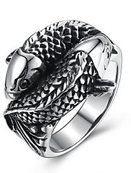 Недорогие -Муж. Заявление 1шт Черный Титановая сталь Геометрической формы Винтаж Панк Повседневные Для вечеринок Бижутерия Старинный ремесленник Змея Cool