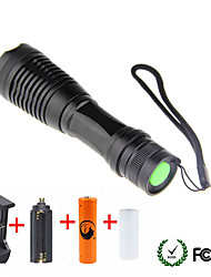 cheap -UltraFire LED Flashlights / Torch 1800/2000/2200 lm LED LED 1 Emitters 5 Mode with Battery and Chargers Zoomable Camping / Hiking / Caving Everyday Use Cycling / Bike Black / Aluminum Alloy
