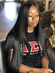 cheap -Remy Human Hair Lace Front Wig Layered Haircut style Brazilian Hair Silky Straight Black Wig 130% Density with Baby Hair Silk Base Hair Natural Hairline Unprocessed Women's Long Human Hair Lace Wig