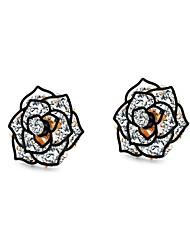 cheap -Women's White AAA Cubic Zirconia Stud Earrings Hollow Out Flower Shape Ladies Vintage Trendy Korean Platinum Plated Rose Gold Plated Earrings Jewelry Gold / Black For Daily 1 Pair