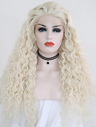 cheap -Synthetic Lace Front Wig Curly Middle Part Lace Front Wig Blonde Long Platinum Blonde Synthetic Hair 20-24 inch Women's Adjustable Heat Resistant Party Blonde