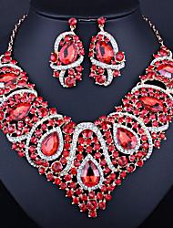 cheap -Women's White Gemstone Hoop Earrings Necklace Classic Heart European Earrings Jewelry Purple / Green / Red For Holiday Festival 1 set