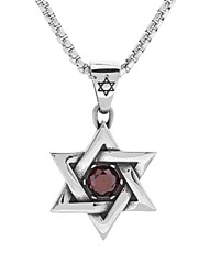 cheap -Men's Red Ruby Pendant Necklace Vintage Style trillion cut Simple Punk Lolita Gothic scottish Titanium Steel Red 50 cm Necklace Jewelry 1 set For Carnival Club Cosplay Costumes