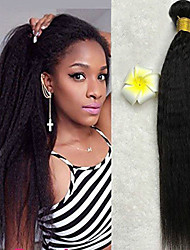 cheap -3 Bundles Indian Hair Yaki Straight Human Hair Unprocessed Human Hair 150 g Natural Color Hair Weaves / Hair Bulk Bundle Hair One Pack Solution 8-28 inch Natural Color Human Hair Weaves Best Quality