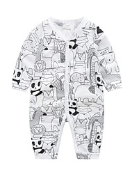 cheap -Baby Boys' Basic Print Long Sleeve Cotton Romper White / Toddler