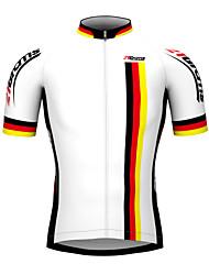 Недорогие -21Grams Муж. С короткими рукавами Велокофты Белый Германия чемпион Флаги Велоспорт Джерси Верхняя часть Горные велосипеды Шоссейные велосипеды Дышащий Водонепроницаемая молния Виды спорта 100