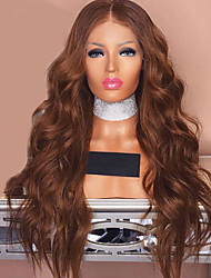cheap -Synthetic Wig Synthetic Lace Front Wig Wavy Body Wave Middle Part Lace Front Wig Long Light Brown Synthetic Hair 24 inch Women's Soft Best Quality Middle Part Sew in Brown Modernfairy Hair