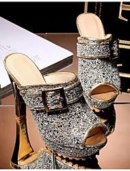 cheap -Women's Sandals Chunky Heel Synthetics Summer Black / White / Yellow