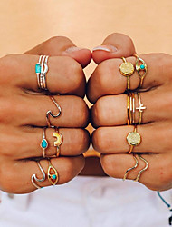 cheap -Women's Ring Ring Set Midi Ring Turquoise 9pcs Gold Alloy Geometric Ladies Unusual Unique Design Daily Going out Jewelry Retro Rainbow Wave Cute Cool