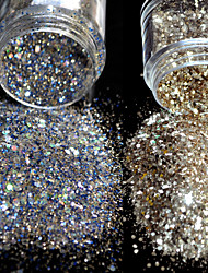 cheap -2 pcs Classic / Best Quality Eco-friendly Material Glitter Powder For Finger Nail Romantic Series Wedding nail art Manicure Pedicure Christmas / Party / Evening / Office / Career Stylish / Aristocrat