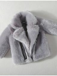 abordables -Enfants Fille Basique Couleur Pleine Manches Longues Fausse Fourrure Veste & Manteau Noir