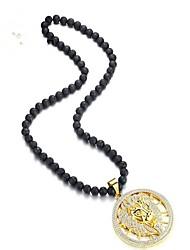 cheap -Men's Gold Cubic Zirconia Pendant Necklace Classic Zodiac Leo Fashion Titanium Steel Gold 59 cm Necklace Jewelry 1pc For Party / Evening Daily