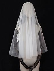 cheap -Two-tier Vintage / Love Wedding Veil Elbow Veils with Appliques / Trim Tulle / Drop Veil