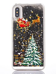 cheap -Case For Apple iPhone XS / iPhone X / iPhone 8 Plus Flowing Liquid / Transparent / Pattern Back Cover Christmas Hard PC