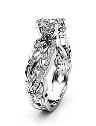 cheap -Women's Ring AAA Cubic Zirconia 1pc Silver Copper Platinum Plated Imitation Diamond Four Prongs Ladies Unique Design Elegant Wedding Party Jewelry Cut Out Totem Series Petal Knife Edge Lovely