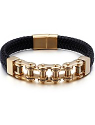 cheap -Men's Leather Bracelet Hollow Out Magnetic Trendy Rock 18K Gold Plated Bracelet Jewelry Gold / Blue / Silver For Street / Titanium Steel / Platinum Plated