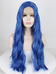 cheap -Synthetic Lace Front Wig Wavy / Water Wave Minaj Style Middle Part Lace Front Wig Blue Blue Synthetic Hair 18-26 inch Women's Soft / Adjustable / Heat Resistant Blue Wig Long 180% Density