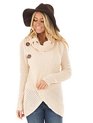 cheap -Women's Weekend Street chic Solid Colored Long Sleeve Regular Pullover Sweater Jumper, Turtleneck Black / Army Green / Beige S / M / L