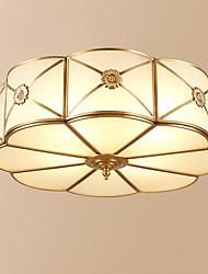 cheap -3-Light Circular Flush Mount Ambient Light Antique Brass Metal Glass Creative 110-120V / 220-240V Warm White
