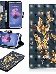 cheap -Case For Huawei Huawei P20 / Huawei P20 Pro / Huawei P20 lite Wallet / Card Holder / with Stand Full Body Cases Butterfly Hard PU Leather / P10 Lite
