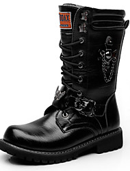 cheap -Men's Fashion Boots Synthetics Winter / Fall & Winter Vintage / British Boots Warm Knee High Boots Black / Party & Evening