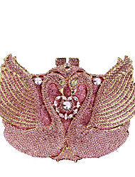 cheap -Women's Crystals / Hollow-out Alloy Evening Bag Rhinestone Crystal Evening Bags Solid Color Blushing Pink / Fall & Winter