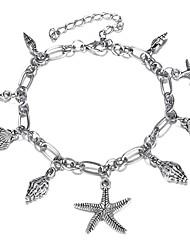 cheap -Women's Ankle Bracelet Retro Starfish Ladies Artistic Bikini Anklet Jewelry Silver For Bikini