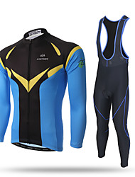 cheap -XINTOWN Men's Long Sleeve Cycling Jersey with Bib Tights Black Bike Pants / Trousers Jersey Bib Tights Breathable 3D Pad Reflective Strips Back Pocket Sweat-wicking Winter Sports Polyester Spandex