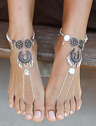 cheap -Barefoot Sandals feet jewelry Ladies Simple Basic Women's Body Jewelry For Gift Ceremony Hollow Out Alloy Totem Series Silver 1pc